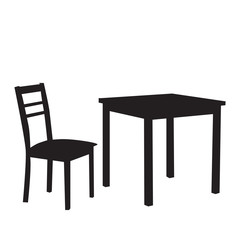 isolated, silhouette of a chair and table