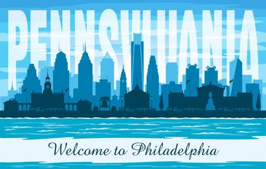 Wall Mural - Philadelphia Pennsylvania city skyline vector silhouette