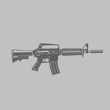 M-16 legendary assault rifle vector illustration. Classic armament flat design.