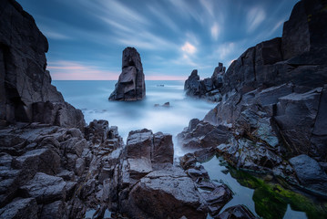 Mysterious dawn / Long exposure seascape with sea rocks at the Black Sea coast near Sozopol, Bulgaria