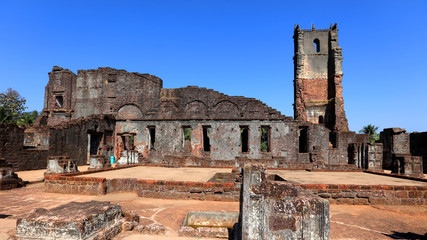 Fototapete - Ruins of St. Augustine complex, Old Goa, India.