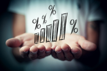 Interest rate financial and mortgage rates concept.