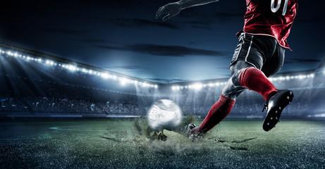 Player Shooting Ball football soccer stadium at night flyer concept