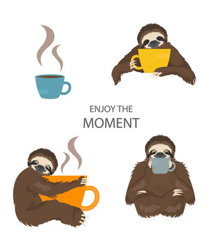 The story of one sloth. Morning cofee. Funny cartoon sloths in different postures set
