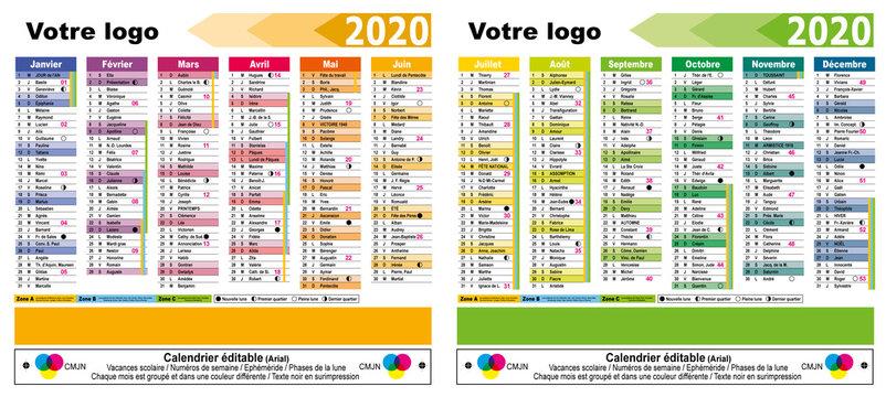 Calendrier 2020 éditable - 02