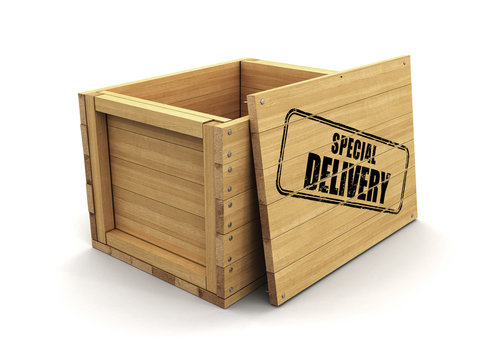 Wooden crate with stamp Special Delivery (clipping path included)