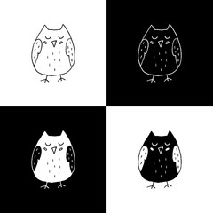Cute cartoon hand drawn owl illustration set. Sweet vector black and white owl illustration set. Isolated monochrome owl illustration set.