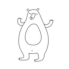 Cute cartoon hand drawn bear drawing. Sweet vector black and white bear drawing. Isolated monochrome doodle bear drawing on white background.