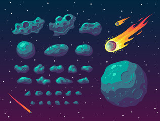 Set of cartoon fantasy asteroids and meteoroids.