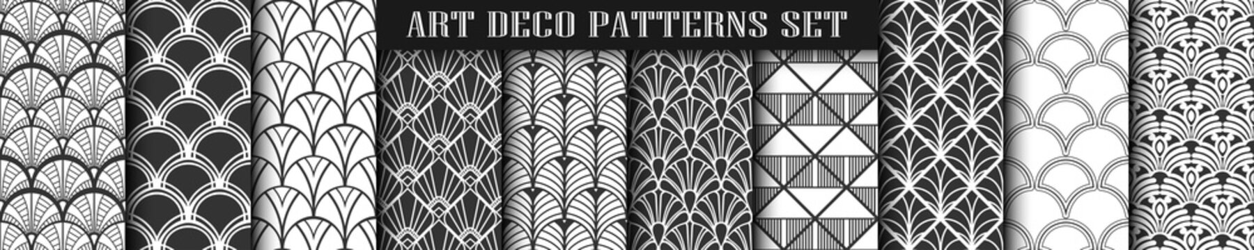 Art Deco Patterns set collection. Black and white luxury backgrounds. Fan scales ornaments. Geometric decorative digital papers. Vector line design. 1920-30s motifs