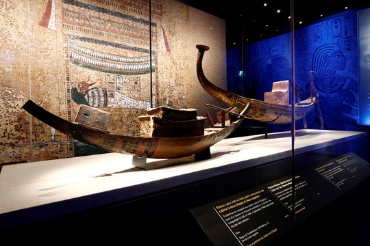 A painted wooden model mastless boat is pictured during a press visit of the Tutankhamun, Treasures of the Golden Pharaoh exhibition, displaying more than 150 original artefacts, at the Grande Halle de la Villette in Paris