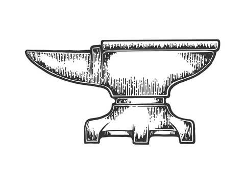 Blacksmith anvil sketch engraving vector illustration. Scratch board style imitation. Black and white hand drawn image.