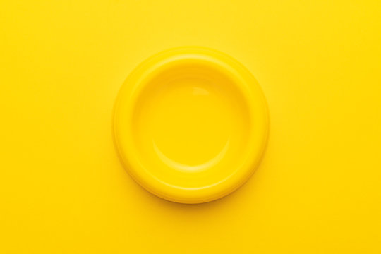 minimalist photo of empty yellow pet bowl on the yellow background