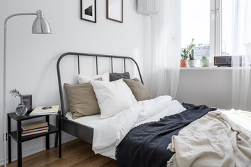 Bed with metal frame