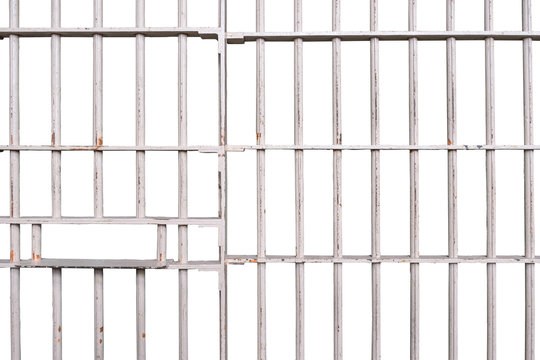 Prison bars isolated on white background with clipping path embed