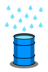 Rain barrel for rainwater harvesting during rain - tank for drop and droplet of falling water. Vector illustration