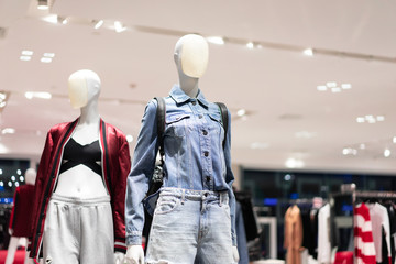 Female Mannequins Standing Display casual clothing store in the Mall