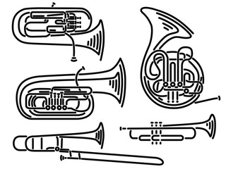 Set of vector brass wind musical instruments drawn by lines.