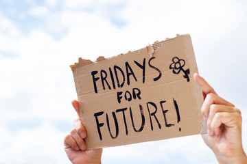 text fridays for future in a brown signboard