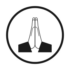 Vector folded hands icon. Black and white in a circle