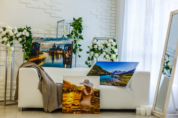 Modern lliving room interior with Cliffs of Moher canvas on the wall - it is my photo available in shutterstock gallery
