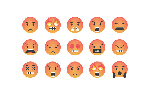 Set of angry emoticon vector