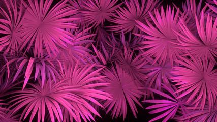 3d render of neon palm leaves on black background. Banner design. Retrowave, synthwave, vaporwave illustration.