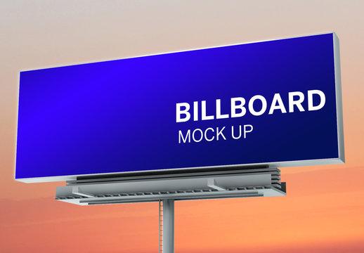 Billboard Mockup on Sunset Background
