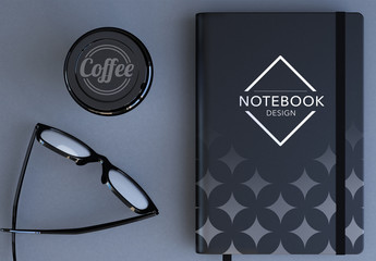 Top View Desk with a Notebook and Coffee Cup Mockup