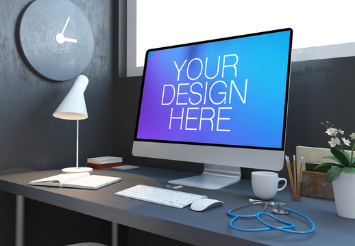 Computer with Website on Desk with Stethoscope Mockup
