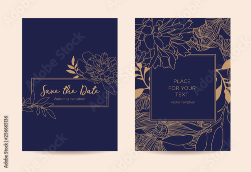 Golden Peonies And Leaves On A Dark Blue Background Wedding