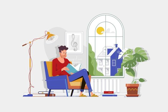 Man with glasses and home clothes reading book and sitting in chair