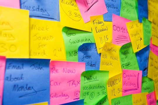 An assortment of post it notes