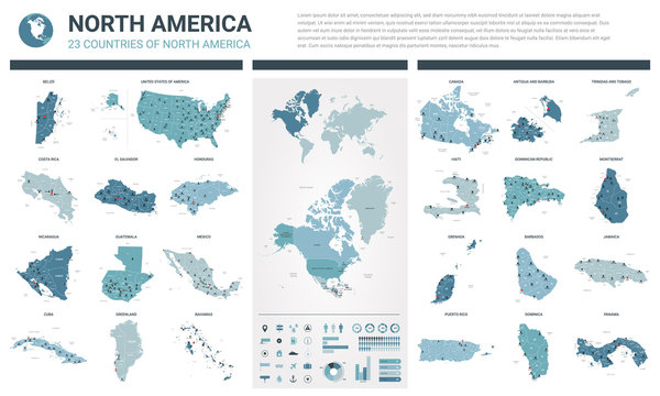 Vector maps set.  High detailed 23 maps of North American countries with administrative division and cities. Political map, map of America continent, world map, globe, infographic elements.