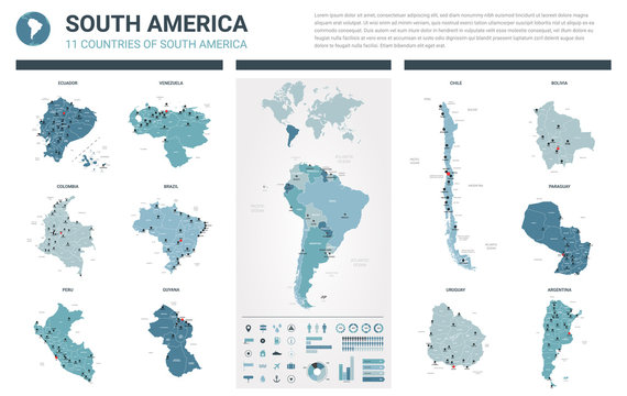 Vector maps set.  High detailed 11 maps of South America countries with administrative division and cities. Political map, map of America  continent, world map, globe, infographic elements.