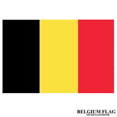 Banner with flag of Belgium. Colorful illustration with flags for web design. Illustration with white background.