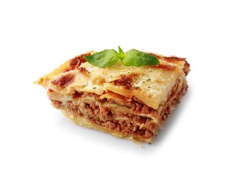 Tasty baked lasagna on white background