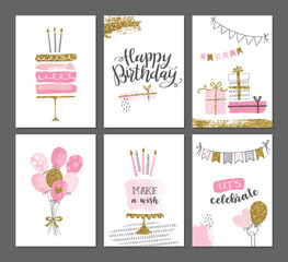 Happy birthday greeting card and party invitation templates with gold glitter. Women birthday vector illustration, hand drawn style.