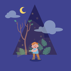 cute happy kid on the season night vector illustration