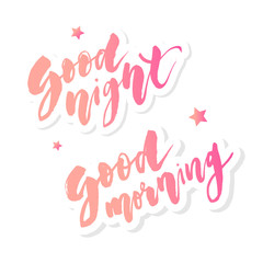 Good Morning Good Night lettering text vector illustration calligraphy