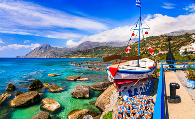 Crete island, beautiful beaches and fishing village Plakias. Greece