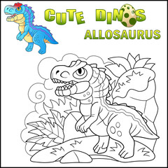 cartoon cute prehistoric dinosaur Allosaurus, funny illustration