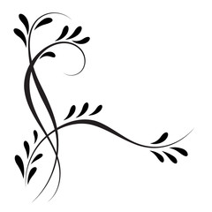 Wall Mural - Decorative floral corner ornament for stencil isolated on white
