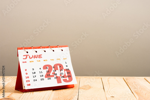 calendar with June 2019 page isolated on beige with copy