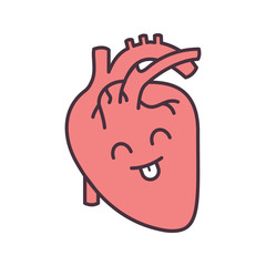 Smiling human heart anatomy color icon