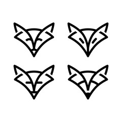 Sign fox in line art style, simple stylish sign