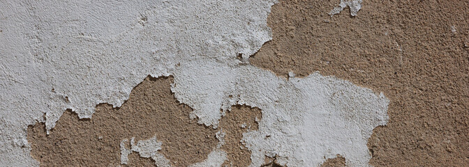 Plastered wall texture background, beige brown color, banner