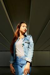 Pretty woman in denim clothes