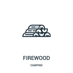 firewood icon vector from camping collection. Thin line firewood outline icon vector illustration. Linear symbol.