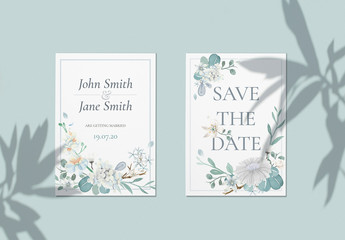 Blue Floral Wedding Save the Date Layout
